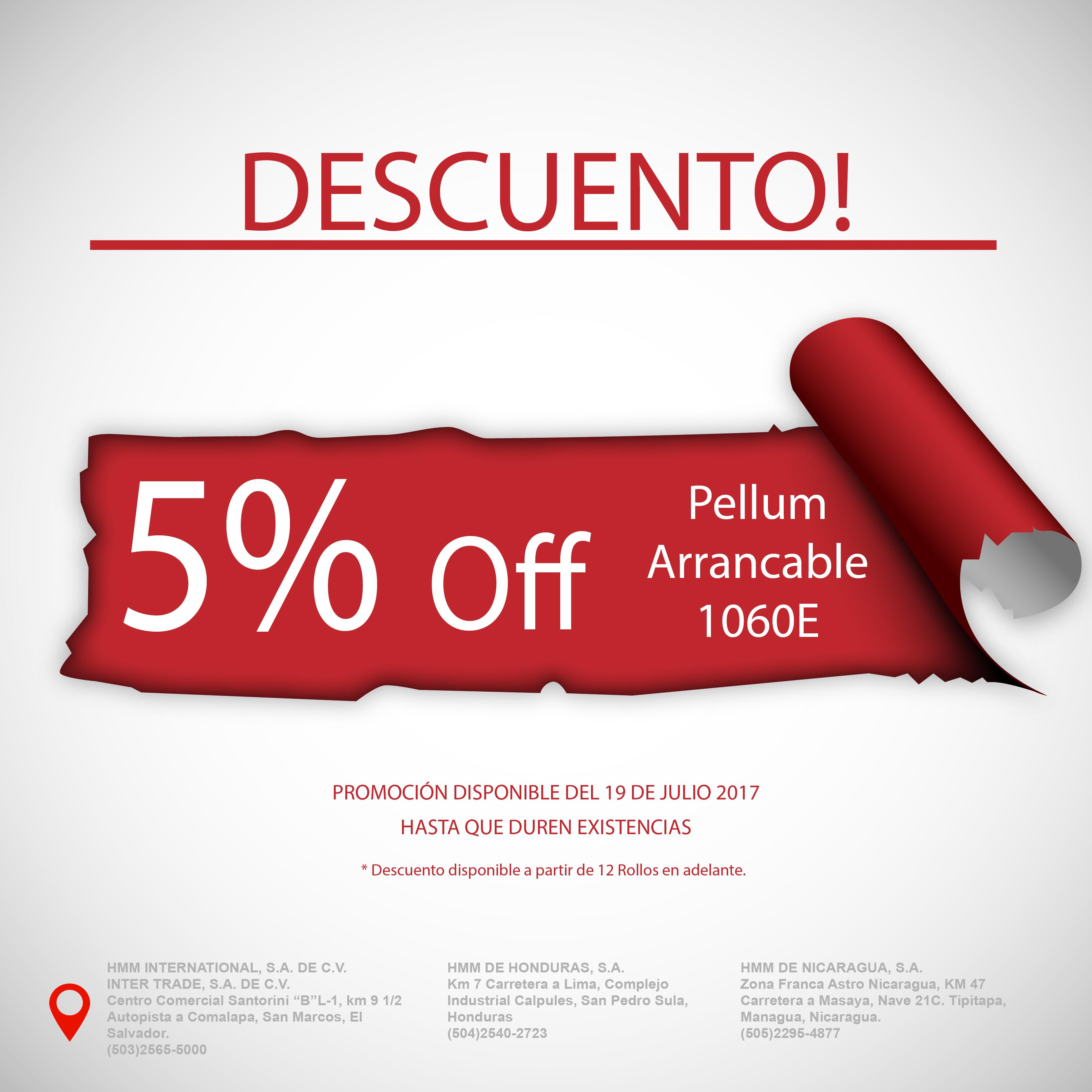 5% De Descuento en Pellum Arrancable 1060E | Grupo HMM